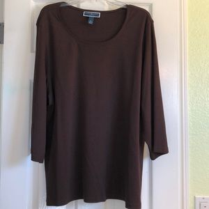 Karen scott 3/4 sleeve dark brown tee